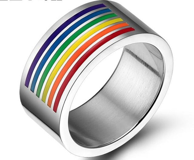 Ring, Pride Colourful  LGBT Stainless Steel Wedding Band Ring