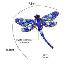 Load image into Gallery viewer, Brooch, Crystal Vintage Dragonfly