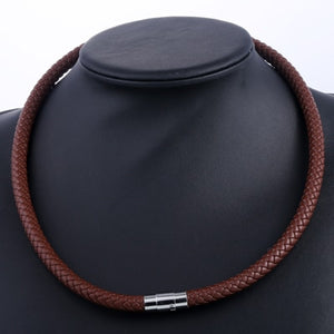 Necklace, Leather Choker Brown Black Steel Clasp Braided Rope Chain Necklace