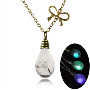 Necklace, Luminous Glass Bulb Pendant with Lick Chain Necklace
