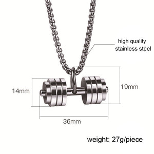 Pendant, High Quality Stainless Steel Dumbbell Pendant & Necklace for Bodybuilder