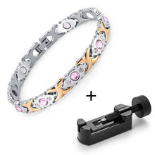 Load image into Gallery viewer, Magnetic Bracelet, Shiny Crystal Stainless Steel Health Jewelry Magnetic Bracelet