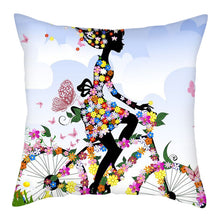 Load image into Gallery viewer, Cushion Cover,  Butterfly Cartoon Girl
