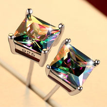 Load image into Gallery viewer, Earrings, Cute Small Silver Rainbow Crystal Double Stud Earrings For Women