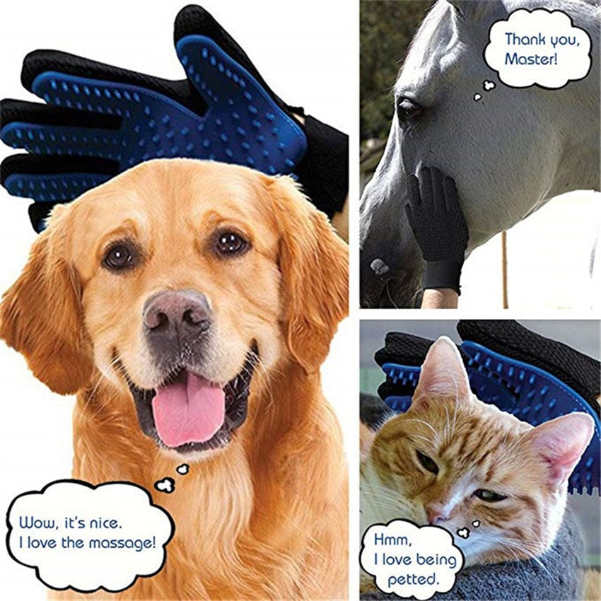 Grooming Glove,  Silicone Dogs Cats Pets Brush Comb Gloves