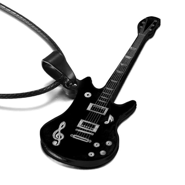 Pendant, 316L Stainless Steel Guitar Pendant & Rope Chain Necklace