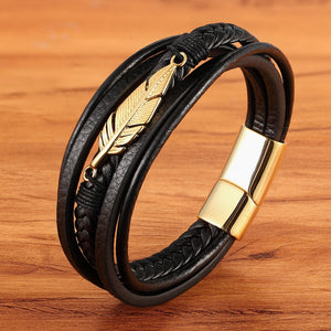 Bracelet, Hip Multi-layer Stainless Steel Feather Shape Leather Bracelet for Men
