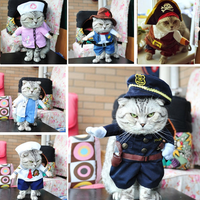 Costume, Funny Cat Clothes Pirate Suit Halloween Dressing Up Cat Party