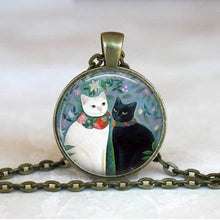 Load image into Gallery viewer, Necklace, Art Glass Cabochon Kitten Pendant & Chain Necklace