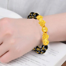 Load image into Gallery viewer, Bracelet, Traditional Pixiu Feng Shui Gold & Black Good Luck Obsidian Beaded Bracelet