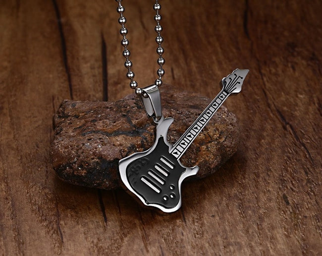 Pendant, Trendy Guitar Stainless Steel Pendant with Chain Necklace