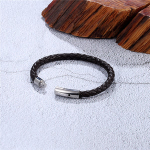 Bracelet, Simple & Elegant Braided Black Stainless Steel Leather Bracelet
