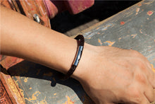 Load image into Gallery viewer, Bracelet, Simple & Elegant Braided Black Stainless Steel Leather Bracelet