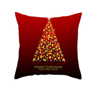 Cushion Cover, Red Printed Cushion Cover Christmas Gift Decorative Pillow Case