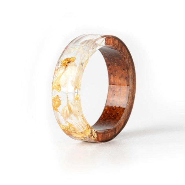 Ring, 2020 Handmade Wood Resin Transparent Ring with Dried Flowers & Plants