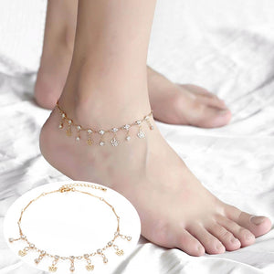 Anklet, Thin Chic Cross CZ Charm Rose Gold Anklet for Women