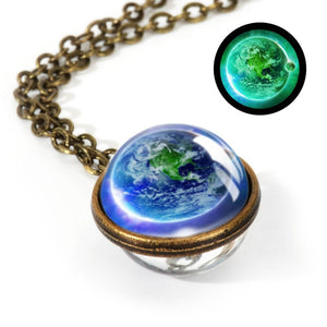 Necklace, 2020 New Nebula Galaxy Double Sided Glow In the Dark Pendant & Necklace