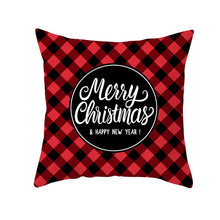 Load image into Gallery viewer, Cushion Cover, Merry Christmas Gift Cushion Cover Red Black Plaid Decoration Pillow Case