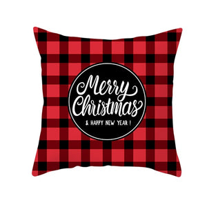 Cushion Cover, Merry Christmas Gift Cushion Cover Red Black Plaid Decoration Pillow Case