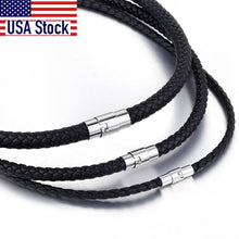 Load image into Gallery viewer, Necklace, Leather Choker Brown Black Steel Clasp Braided Rope Chain Necklace