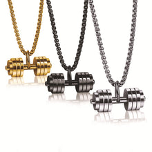 Load image into Gallery viewer, Pendant, High Quality Stainless Steel Dumbbell Pendant & Necklace for Bodybuilder