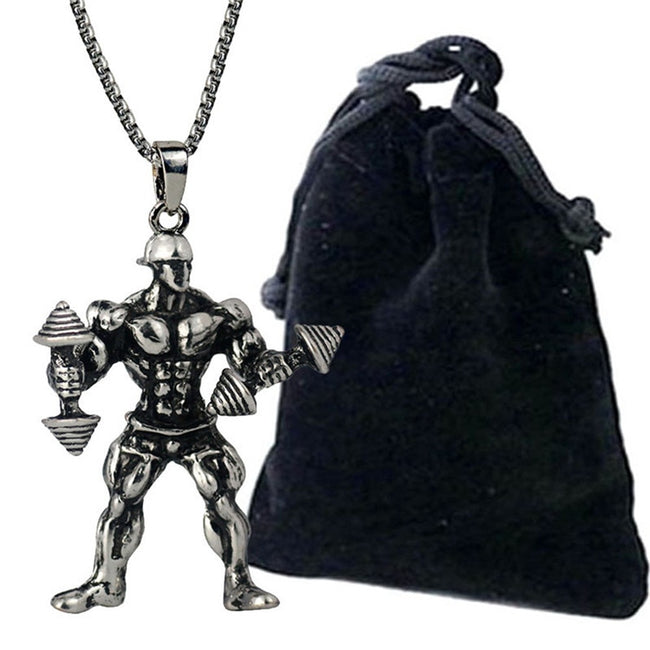 Pendant, Strong Man Dumbbell Pendant & Stainless Steel Chain Necklace