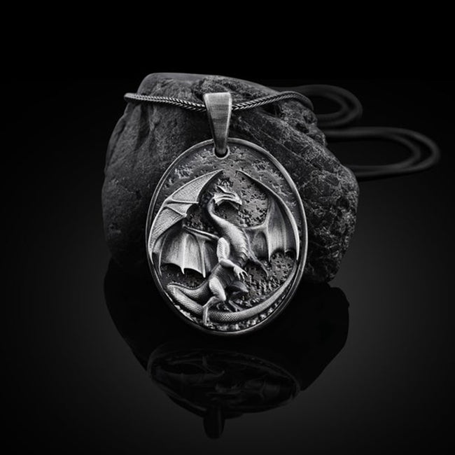 Pendant, Black Punk Dragon Gothic Pendant and Chain Necklace