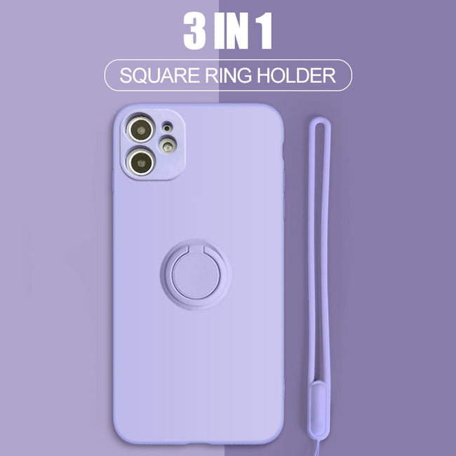 iPhone Case, Square Liquid Silicone Magnetic Ring Holder Case For iPhone 11 Pro XS Max XR XS X 8 7 6S 6 Plus SE 2020