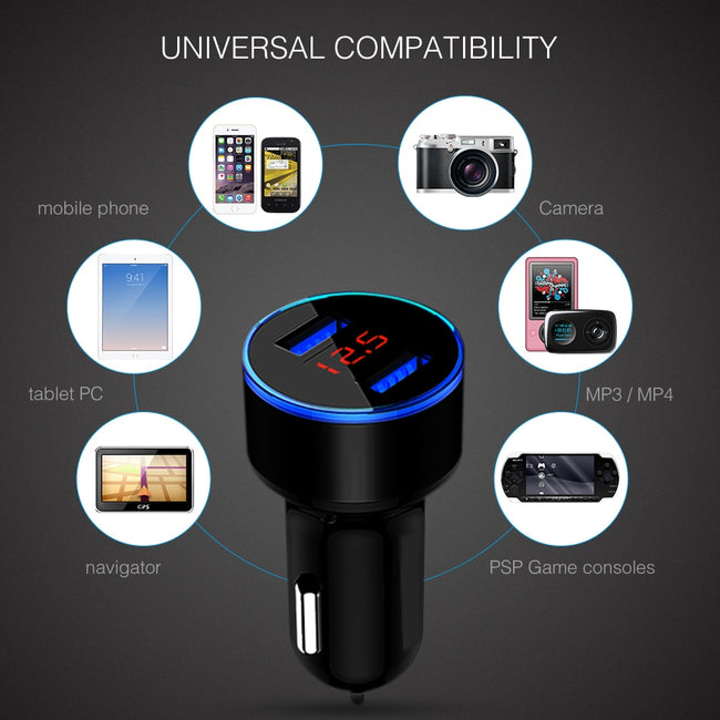 Car Charger, 3.1A LED Display USB Phone Charger Car-Charger for All Smart Phones