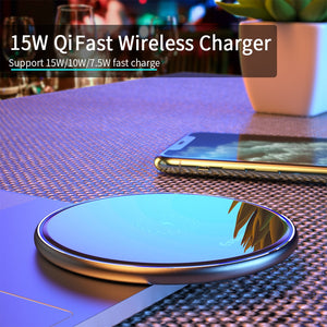 Wireless Charger, 15W Qi Wireless Charger For iPhone & Android  Charging Pad