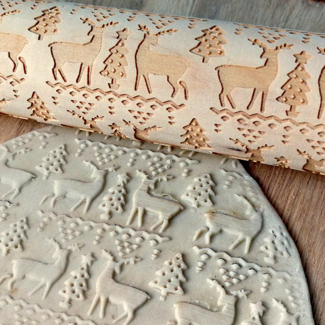 Rolling Pin, Merry Christmas Elk Wooden Print Rolling Pin Christmas Decorations for Home