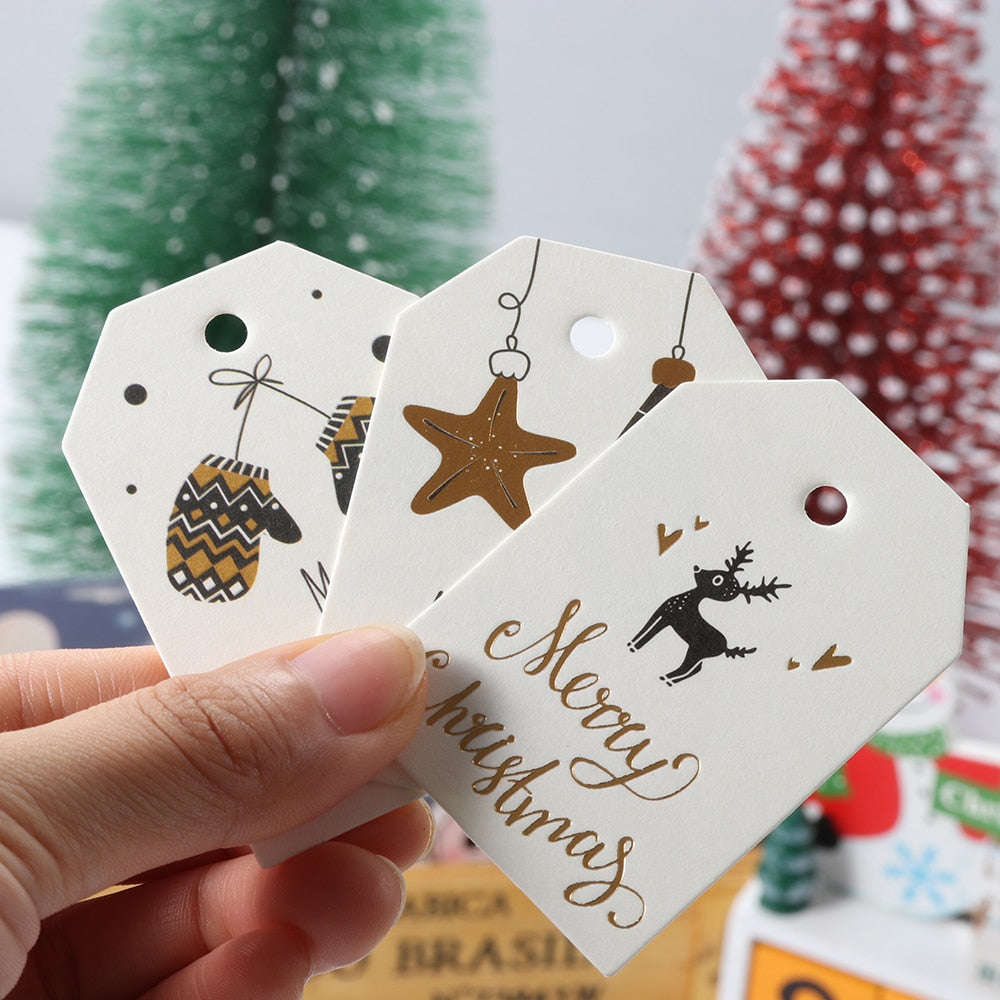 Christmas Tags, 50PC/Set  Merry Christmas DIY Kraft Tags Labels for Gift Wrapping Xmas Party