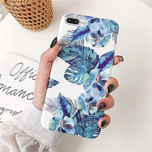 Load image into Gallery viewer, iPhone Case, Vintage Blue Banana Leaf & Flower iPhone Case For All iPhone 12, Pro, Pro Max and Mini Model