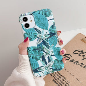 iPhone Case, Vintage Blue Banana Leaf & Flower iPhone Case For All iPhone 12, Pro, Pro Max and Mini Model