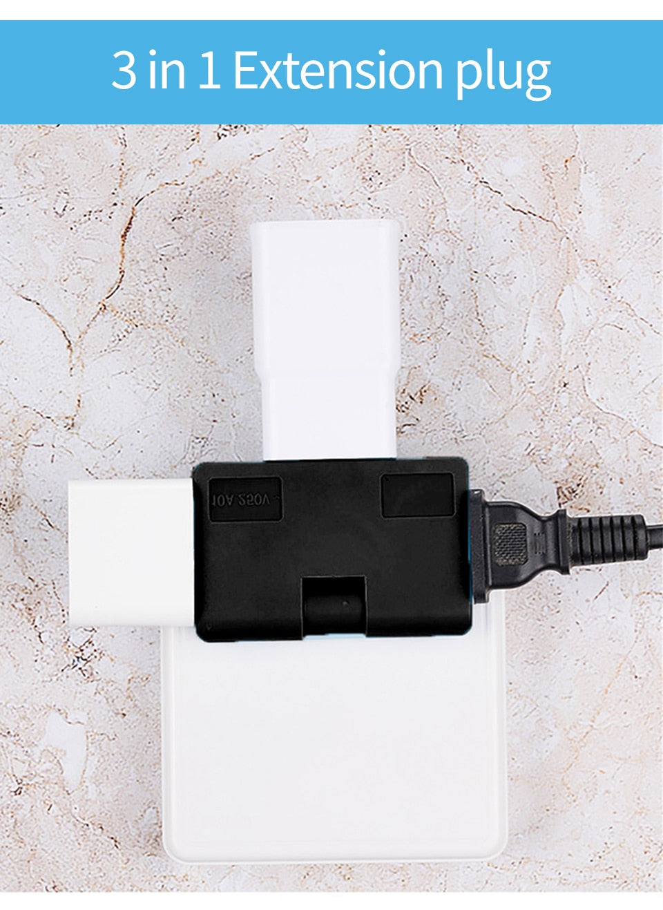 Foldable Power Plug, Power Plug Adapter Extension Travel Socket For 3 Devices