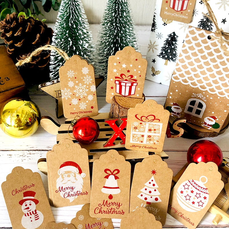 Christmas Tags, Merry Chirstmas Kraft New Year Party Decoration Gift Tag Sets