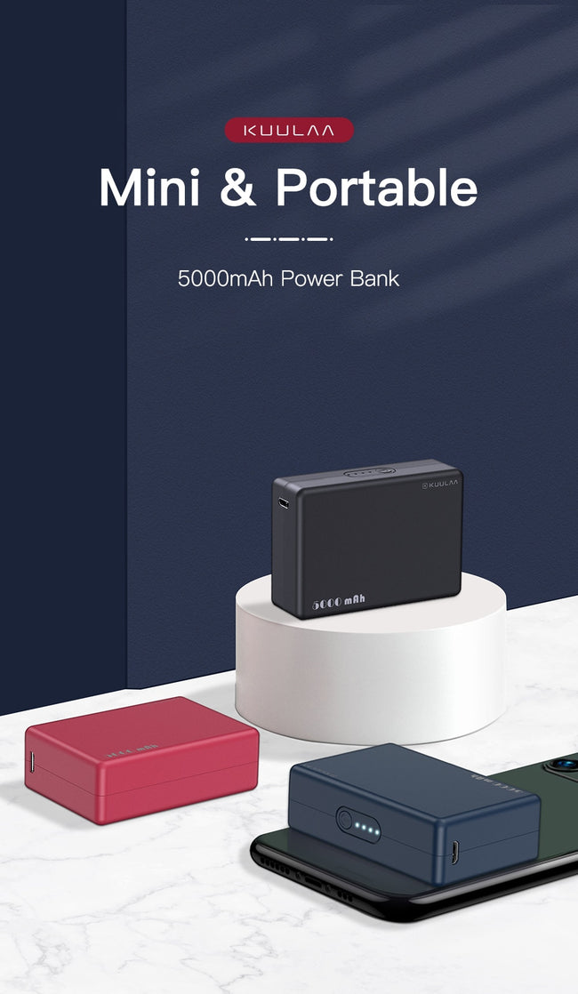 Power Bank, Mini 5000mAh Portable Charging PowerBank