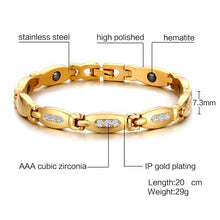Load image into Gallery viewer, Magnetic Bracelet, Hematite Gold Colour Stainless Steel Chain Zircon Stone Therapeutic Bracelet