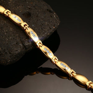Magnetic Bracelet, Hematite Gold Colour Stainless Steel Chain Zircon Stone Therapeutic Bracelet