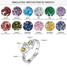 Load image into Gallery viewer, Ring, Adoring 925 Silver Personalised Ring -  2 Names & Birthstones