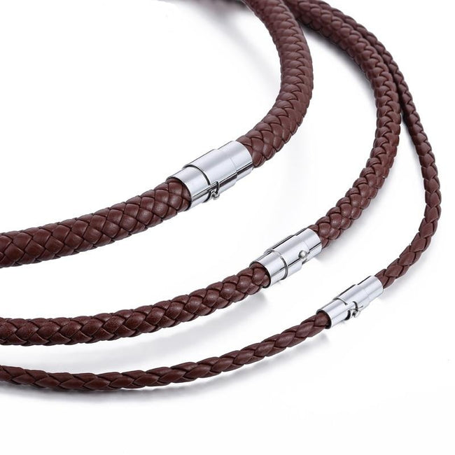 Necklace, Classic Men's Leather Choker Braided Rope Necklace