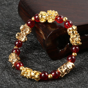 Bracelet, Lucky Pixiu Fengshui Gold with Black or Red Beaded Garnet Stone Bracelet