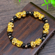 Load image into Gallery viewer, Bracelet, Lucky Pixiu Fengshui Gold with Black or Red Beaded Garnet Stone Bracelet