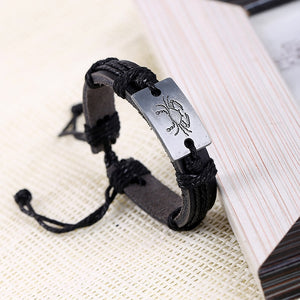 Bracelet,  12 Zodiac Signs Leather Unisex Bracelet