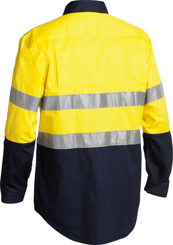 BISLEY CLOSED FRONT HI VIS 2 TONE DRILL SHIRT LONG SLEEVE
