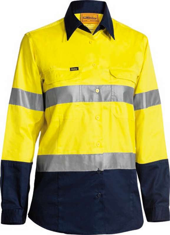 BISLEY 4 PK HI VIS 2 TONE LIGHTWEIGHT SHIRT WITH 3M TAPE BS6896