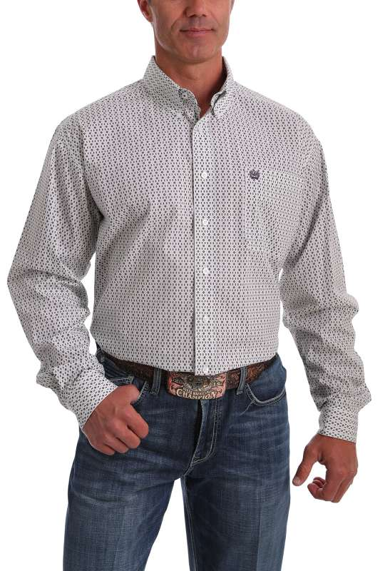 CINCH MENS WHITE, GREEN & PURPLE GEO PRINT SHIRT