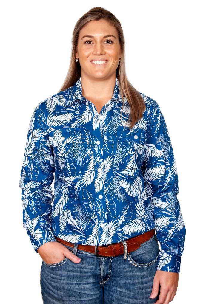 JCA Ladies Abbey Blue Leaves Long Sleeve Shirt