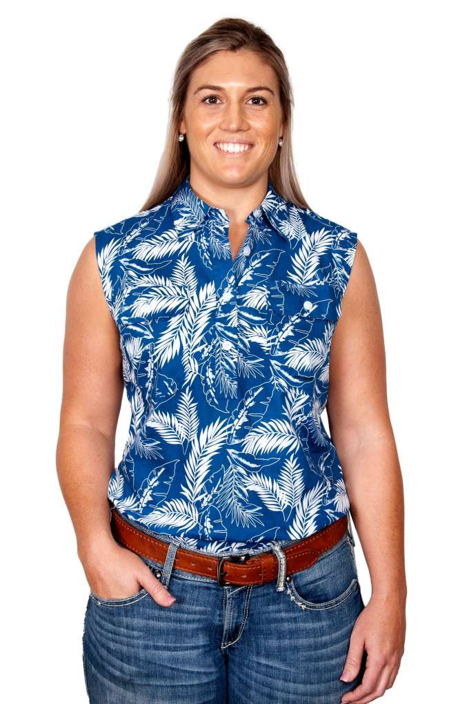 JCA Ladies Lilly Blue Leaves Sleeveless Shirt