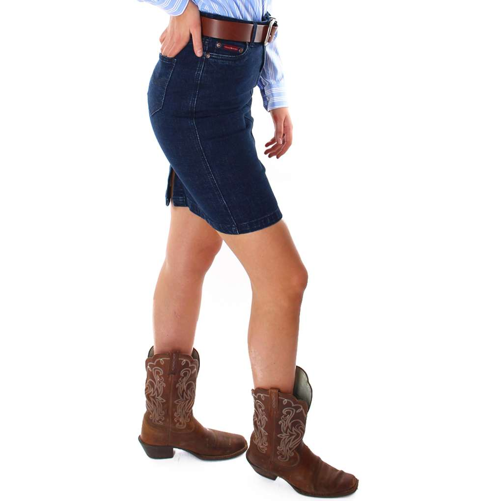 Ringers Western Ladies Cara Mid Length Skirt Classic Blue